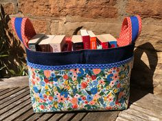 A perfect way to store books or projects Knitting Projects, Crochet Projects, Fox Fabric, Knit Basket, Polka Dot Fabric, Rifle Paper Co, Retro Floral, Hand Wrap, Cosmetic Pouch