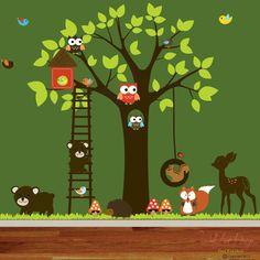 Vinyl Wall decal stickers swing tree set by wallartdesign on Etsy