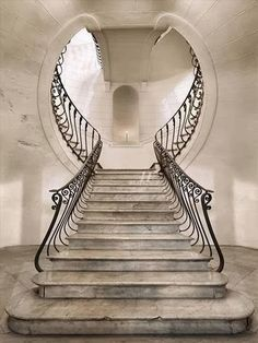 Some art nouveau. Great combination of outside the box staircase and art deco design Escalier Art, Escalier Design, Beautiful Architecture, Art And Architecture, Architecture Details, Staircase Architecture, Art Nouveau Architecture, Grand Staircase, Staircase Design