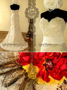 Exclusive Lace Wedding Dress in Slim A Line Style with Strapless Sweetheart Neckline Featuring Cream Color Satin Underlay and Sweep Train by LaceMarry on Etsy https://www.etsy.com/listing/206555894/exclusive-lace-wedding-dress-in-slim-a