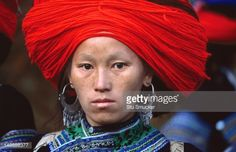 Stock-Foto : Ethnic Red H'mong of northern Vietnam are know for their 'big hair'.