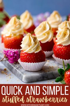 These Cheesecake Stuffed Strawberries make a fantastic simple dessert for your buffet table! These are a great game day sweet treat! #gameday #desserts #stuffedstrawberries #strawberries #cheesecake #cheesecakestuffedstrawberries Strawberry Cheesecake Bites, Strawberry Recipes, Fruit Recipes, Dessert Recipes, Cheesecake Stuffed Strawberries, Dessert Ideas, Cupcake Ideas, Frosting Recipes, Party Desserts