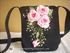 Purse with Ribbon Embroidery Black Messenger with Pink Roses by Yes2Years, SIS2rs on Etsy