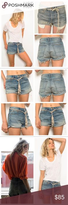 NSF Free People Concert Short in Woodstock NSF Concert Short in Woodstock (faded light blue wash) From Free People by NSF. Sold Out. Rtl $248.  Highwaist short shorts in a premium laundry sandy tone wash with whiskers and raw frayed hem. Made in Los Angeles, CA. The perfect pair of high rise short shorts for all festivals, the beach, and all your summer needs!  Item is in excellent, pre-loved condition with no obvious signs of wear. Belt shown for styling, not included with shorts…