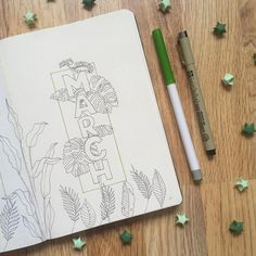 Bullet journal monthly cover page, March cover page, plant drawings. | @bujo.bujo92