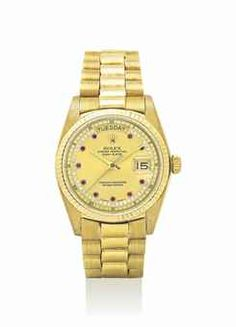 ROLEX. A FINE AND RARE 18K GOLD, DIAMOND AND RUBY-SET AUTOMATIC WRISTWATCH WITH SWEEP CENTRE SECONDS, DAY, DATE AND BRACELET