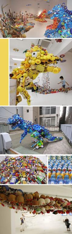 """Hiroshi Fuji, installation exhibit """" Central Kaeru Station -- Where have all these toys come from?""""   Includes this fabulous Toy Saurus  Sculpture made from recycled toys.  The exhibit uses toys and recycled materials amassed as part of the artists """" kaekko"""" project,  13 years in the making with over 5000 events and 1000 locations in Japan and other countries."""