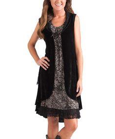 This Rancho Estancia Black Lace-Trim Grace Velvet Long Vest - Women by Rancho Estancia is perfect! #zulilyfinds