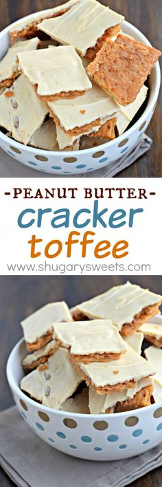 Peanut Butter Cracker Toffee: so simple to make, yet melt in your mouth delicious! This easy toffee recipe is made with crackers! Try using almond butter instead of peanut butter. Candy Recipes, Sweet Recipes, Cookie Recipes, Dessert Recipes, Peanut Butter Crackers, Peanut Butter Recipes, Easy Desserts, Delicious Desserts, Yummy Food