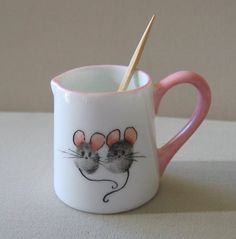 China Pitcher Toothpick Holder by dragoncat on Etsy Pottery Painting, Ceramic Painting, Ceramic Art, Painted Mugs, Hand Painted, Fingerprint Art, Paint Your Own Pottery, Handprint Art, Pottery Designs