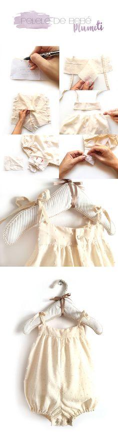 4 tutoriales de ropa de bebé de verano DIY-Pelele de bebé