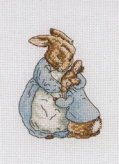 P Beatrix Potter Peter Rabbit Jardin Scène cross stitch chart