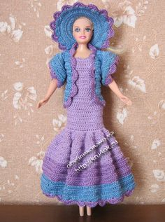 Purple and blue dress for Barbie with diagrams
