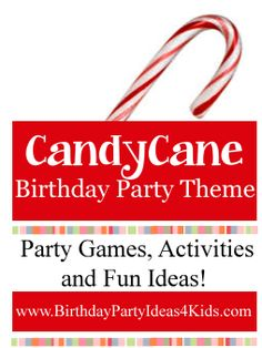 Candy Cane theme birthday party ideas!  Great for kids, tweens and teens!  Fun party games like Candy Cane Fishing,  Freeze Dance,  Peppermint Kisses Relay and many more!   Fun activities, party food, decorations and party favor ideas too.   For kids, tweens and teens ages 2, 3, 4, 5, 6, 7, 8, 9, 10, 11, 12, 13, 14, 15, 16, 17 years old.http://www.birthdaypartyideas4kids.com/candy_cane_birthday_party_ideas.html #holiday #Christmas #candycane