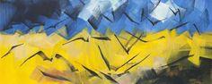 Korenveld met kraaien Robert Zandvliet (1970) 2011 127 x 312 cm schilderij eitempera op linnen Foto: Henk Geraerdts