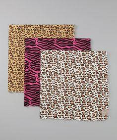 Love this Cream Leopard Flannel Receiving Blanket Set by Trend Lab on #zulily! #zulilyfinds