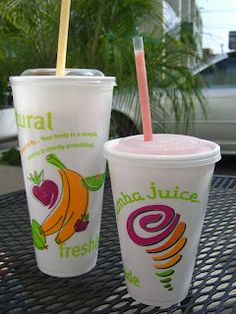 Jamba Juice secret menu smoothie recipes - - these are so delicious! They really do taste like the names: Pink Starburst, PB Sandwich, Sour Patch Kid, White Gummi Bear, Fruity Pebbles Healthy Fruit Smoothies, Healthy Fruits, Healthy Drinks, Menu Smoothie, Smoothie Recipes, Juice Smoothie, Fun Drinks, Yummy Drinks, Yummy Food