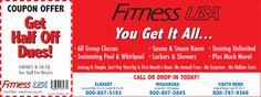 Fitness USA    Half Off Membership Dues