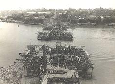 Construção da Ponte Antônio Plácido de Souza, com suas armações estruturais. Acervo: Frank Abrahim Lima.