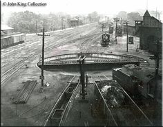 The turntable, station, and tower of the B&O's Low Yard in Parkersburg, West Virginia are seen in this photo taken during the 1930s.