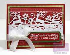 Designed by Lori Barnett. Crafter's Companion Christmas Edge'ables Reindeer Dance Die; Scalloped Tags Die Set, Bebunni Christmas Collection Poinsettia Stamp Set; Nordic Christmas Papercrafting CD-ROM; Spectrum Noir Ultra Smooth Premium White Cardstock. @CraftersCompUS #Christmas