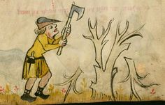 Kalender und Praktika auf die Jahre 1368 14. Jh. Cgm 32 Folio 6r Felling Axe, Tree Felling, Medieval Drawings, Early Modern Period, Late Middle Ages, Medieval Life, Medieval Manuscript, Medieval Clothing, Working Class