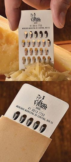 A cheese shop has a cheese grater business card! So clever!