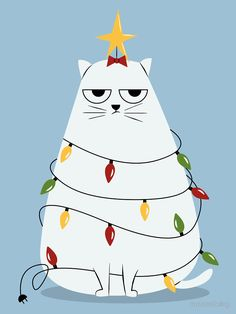 Grumpy Cat Christmas Tree T Shirt. I can't imagine this cat is stoked about having lights strung around his body and a star affixed to his head. Well, unless he did it to himself, which I can imagine. Christmas Tree Drawing, Cat Christmas Tree, Christmas Doodles, Christmas Paintings, Christmas Animals, Christmas Diy, Christmas Ornaments, Christmas Decorations Drawings, Christmas Wishes