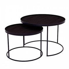 Laag set van 2 ronde tafeltjes