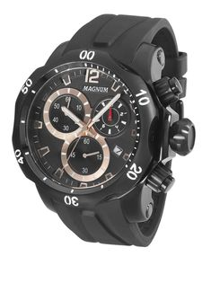 6d2a5563147 Magnum - Black   Rose Gold Stainless Steel and Silicone Chronograph Analog  watch Relógios Masculinos