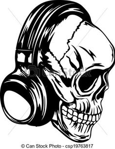 Skull with Headphones Art | Vector illustration human skull with headphones