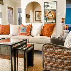 Eclectic Family Room Design, Pictures, Remodel, Decor and Ideas - page 566 Ibb Design, Sofa Pillows, Couch, Family Room Design, Upholstered Chairs, Interior Decorating, Sweet Home, House Design, House Styles