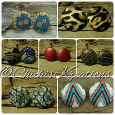Medium and large button earrings