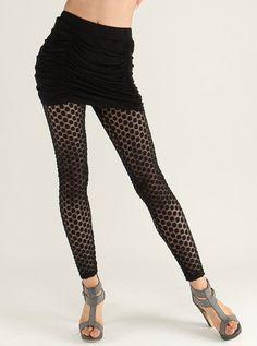 Sweetheart Pattern Net Capri Legging For Women Black | stockings ...