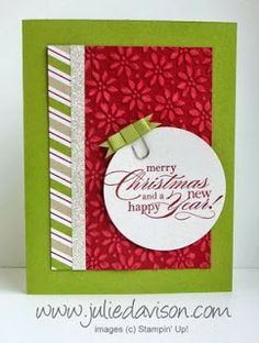 I LOVE everything about this card! CASEd from Linda Heller's Founder's Circle Swap. The Core'dinations Cardstock (available in the Clearance Rack!) adds the perfect texture to the background.
