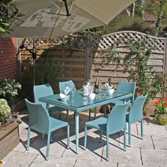 6 Seat Pastel All Weather Rattan With Bevelled Edge Glass And Stacking  Chairs