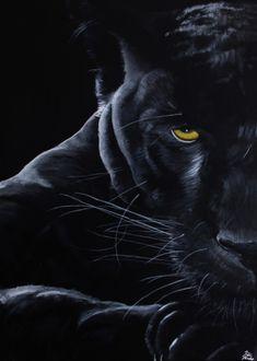 TABLEAU PEINTURE panthère animal yédé portrait Animaux Acrylique  - La Panthère…