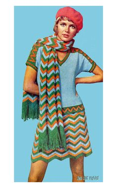 1970s Mod Missoni Chevron Stripe Mini Skirt Top by 2ndlookvintage, $4.50