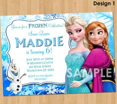 Frozen Birthday Party Invites Invitation Kidspartyprintables On Etsy Fiesta Disney