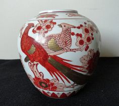 Vintage Chinese Red Iron Porcelain Vase by ArtsCollectiblesbyKT, $69.00