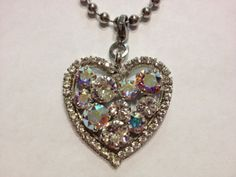 Heart pendant made with Swarovski crystals in clear by AleighsGems, $45.00