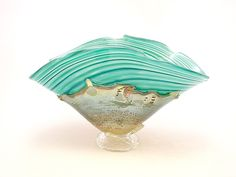 Turquoise and Gold Overlay Bowl by Dierk Van Keppel: Art Glass Vessel available at www.artfulhome.com