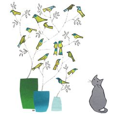 BLUE VASE, Grey cat .Gentle card with a cat looking on wistfully at... (€2,39) ❤ liked on Polyvore featuring home, home decor, bagardcardsandcrafts, gray home decor, lime green home accessories, lime green home decor, bird home decor and blue home accessories