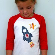 Rocket Birthday Shirt Toddler and Kids Baseball by planetpudge, $28.00