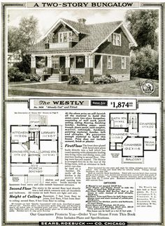 One of Sears most popular kit homes was the Westly. It's an easy house to identify because it's quite unique. The roof line on the rear of the house does not Craftsman Exterior, Craftsman Style Homes, Craftsman Bungalows, Bungalow Homes, Bungalow House Plans, House Floor Plans, Sears Catalog Homes, Architecture Design, Architecture Diagrams
