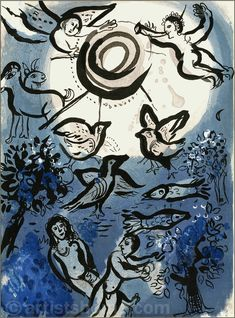 marc chagall lithographs | Marc Chagall: Creation, Original Lithograph Verve Bible, 1960 - Buy ..