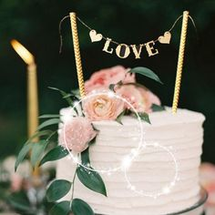 """LOVE"" Sign Wedding Topper - Gold"