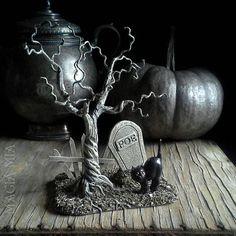 Spooky Poe Tombstone Black Cat Graveyard OOAK Halloween Edgar