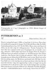 Pyttergrende 3 har en interessant historie. Trykk på bildet hvis du vil se teksten bedre. (Fra «Det antikvariske register for Bergen» Sandviken – Sone 1).  Brukt 3. oktober i Folk fra Sandviken