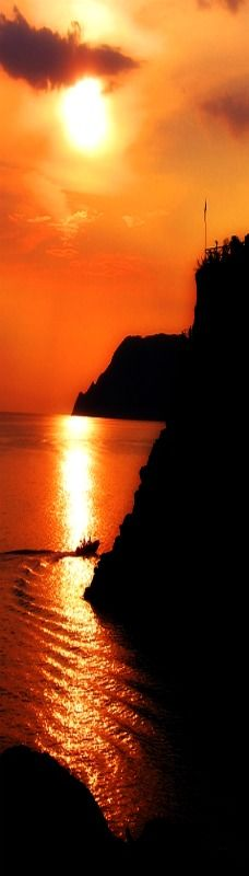 Sunset in Manarola, Province of La Spezia , Liguria region Italy